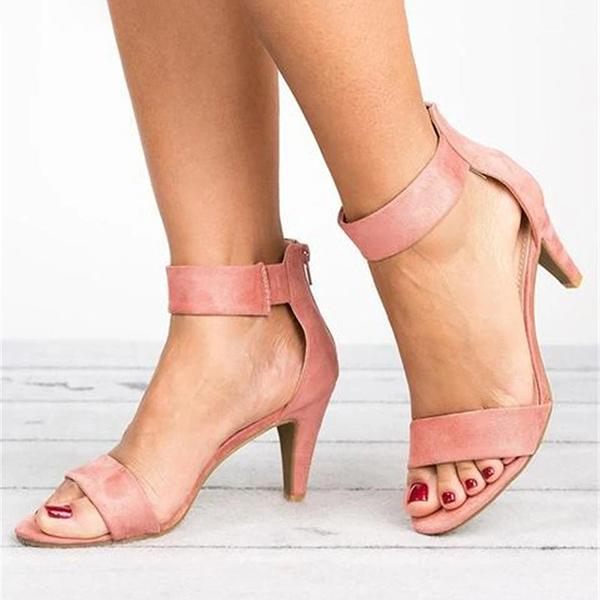 Mokoshoes Ankle Strap Mid Thin Heel Sandals
