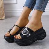 Mokoshoes Women Athletic Buckle Strap Decoration Open Toe Platform Slippers