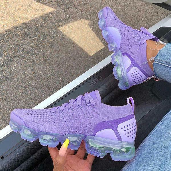 Mokashoes Women Round Toe Pu All Season Purple Sneakers