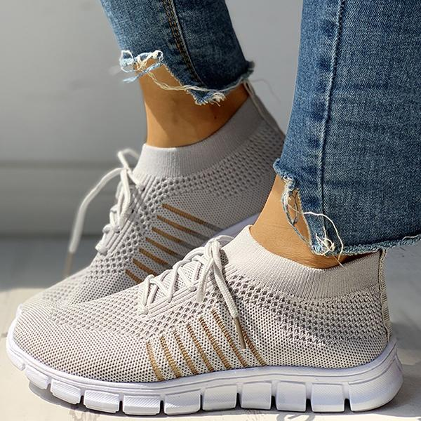 Mokoshoes Solid Knitted Breathable Lace-Up Striped Sneakers