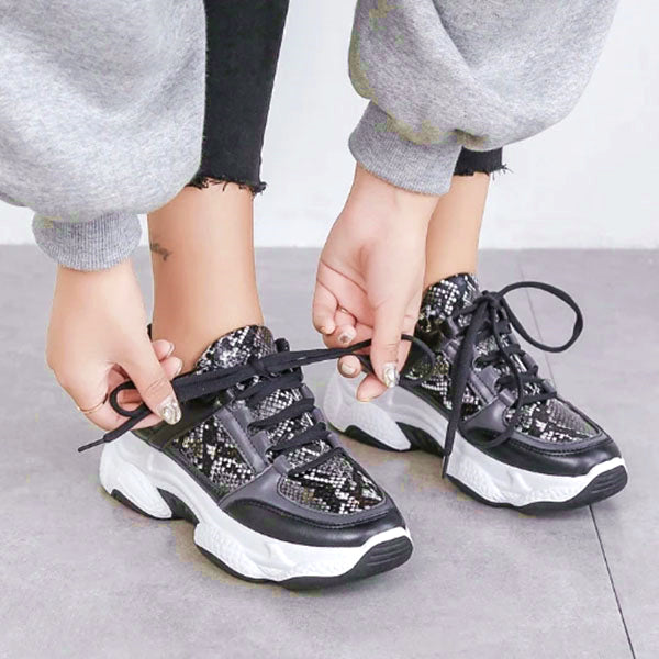 Mokashoes New Woman Snakeskin Pattern Chunky Sneakers