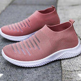 Mokashoes Athletic Hollow-out Slip On Flyknit Fabric Sneakers