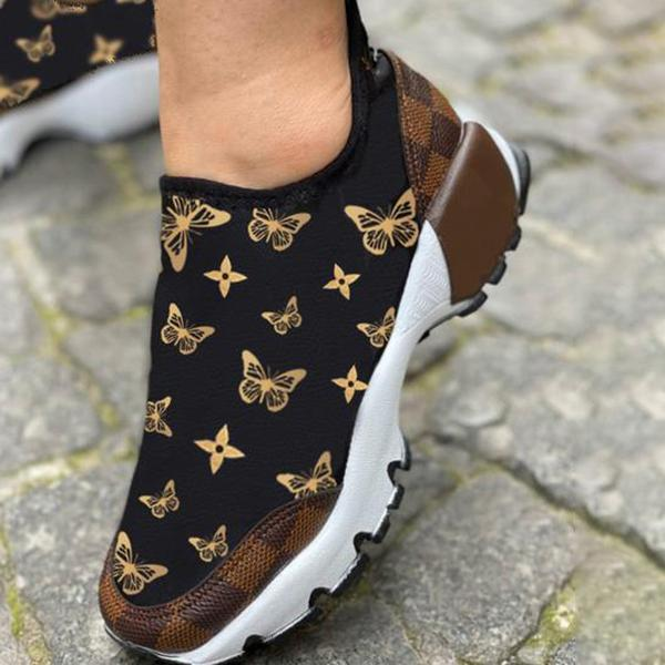 Mokashoes Letter Print Lace-Up Women Sneakers