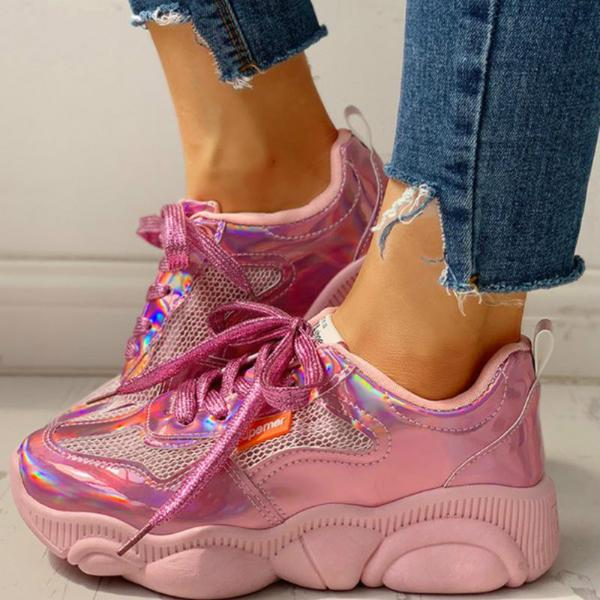 Mokashoes Colorful Net Surface Insert Breathable Sneakers