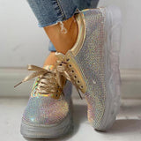 Mokoshoes Studded Lace-Up Casual Platform Sneakers