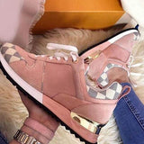 Mokashoes Round Toe Lace-Up Color Block Sneakers