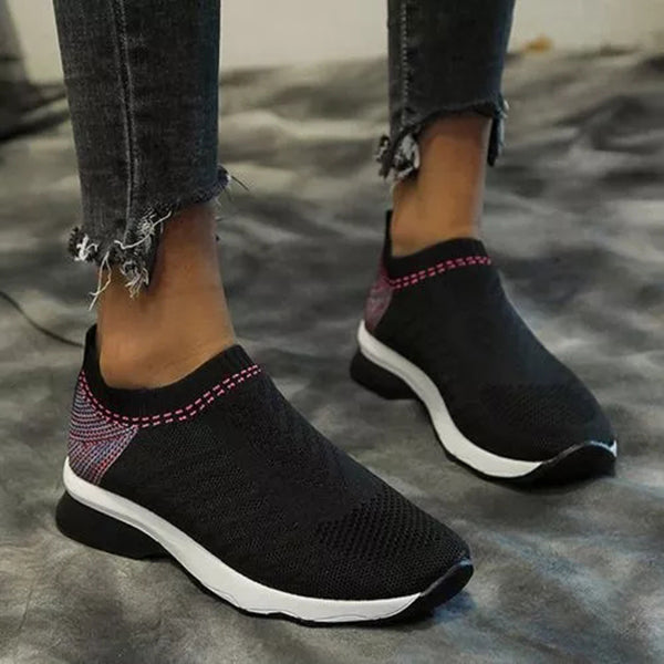 Mokashoes Hollow-Out Fabric Wedge Heel Sneakers
