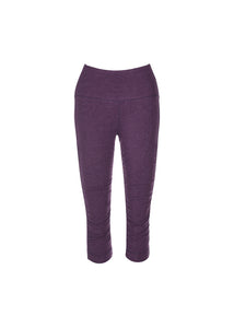 Bamboo and organic cotton purple high waisted 3/4 length leggings with detailed ruching
