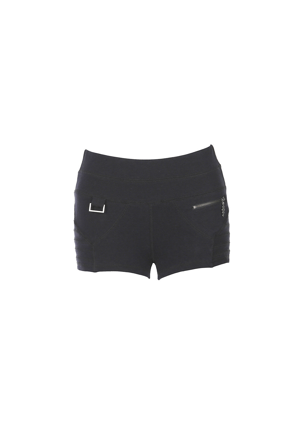 Bamboo and organic cotton black shorts with wide waistband and front pocket  and seam detailing.