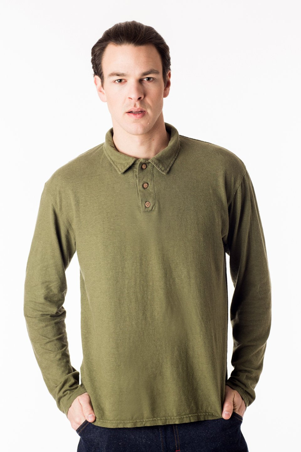 long sleeve mens polo shirt with three button closure at the neck and a short collar in a light green