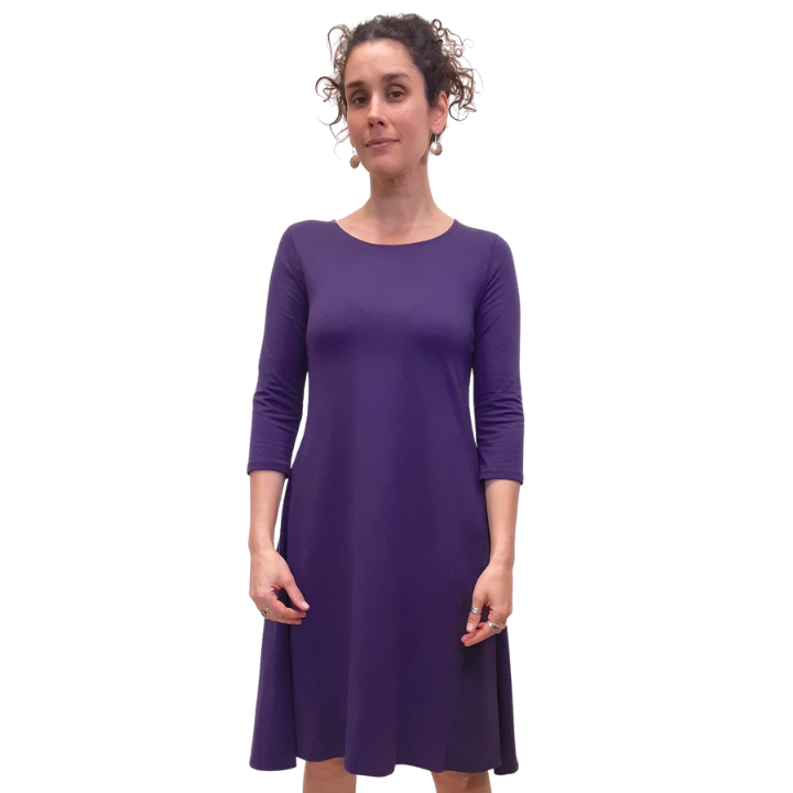 hemp knee length dress that drapes over the body with three quarter length sleeves and a scoop neck