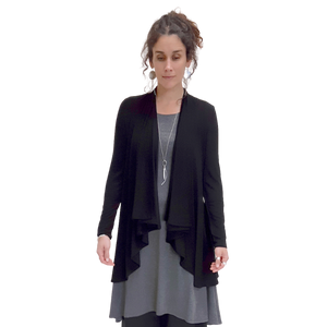 Bamboo wrap cardigan with extra fabric at the back to flare out over the hips and a long open gathered fabric front to gently drape over the body and long sleeves