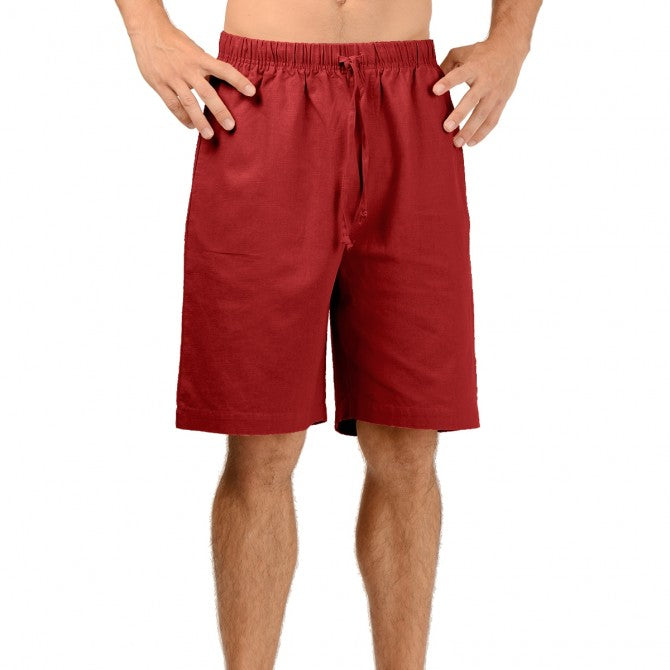 linen men's draw string shorts with adjustable waist and ends just above the knee in red