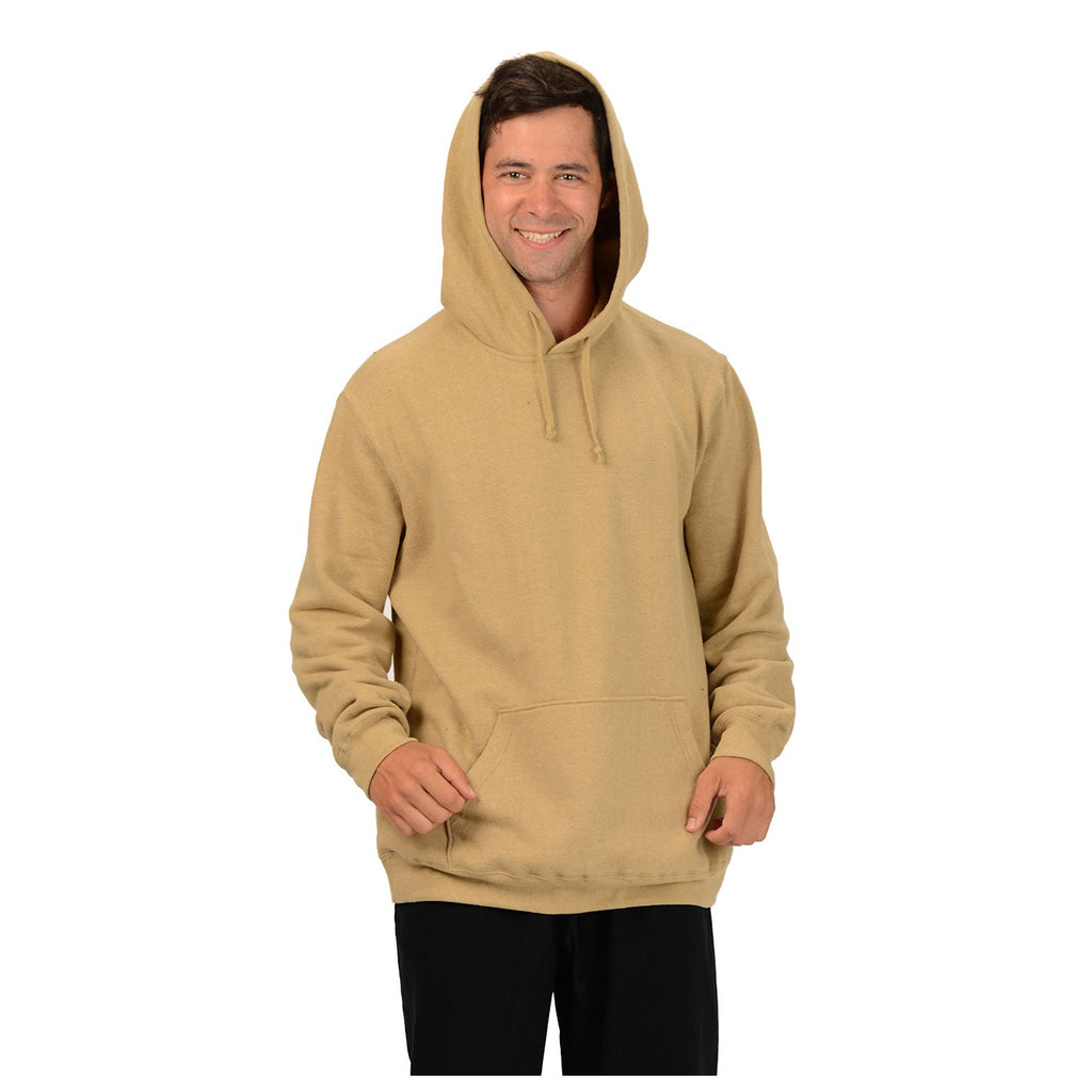 Hemp fleece men's pull over hoodie with large double ended front pocket and draw strings in the hood