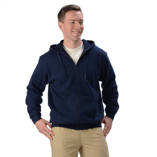 Full length zipper hoodie with two front pockets and a draw string