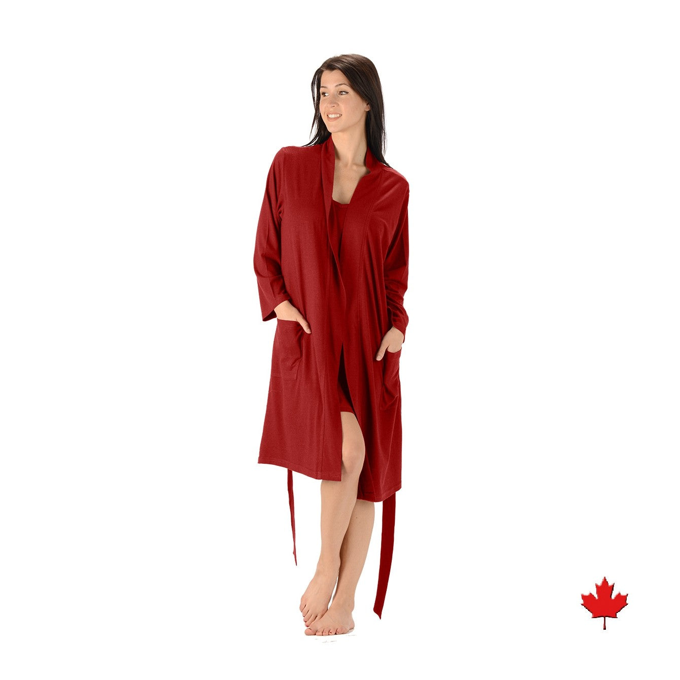Lightweight bamboo and organic cotton bathrobe with two large front pockets and strap tie in red