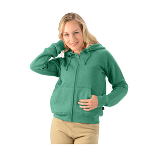 Women's hemp zip up hoodie with drawstrings in green
