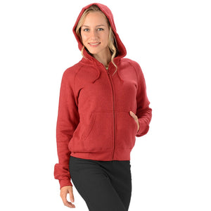 Hemp zippered hoodie with draw strings and long sleeves in red