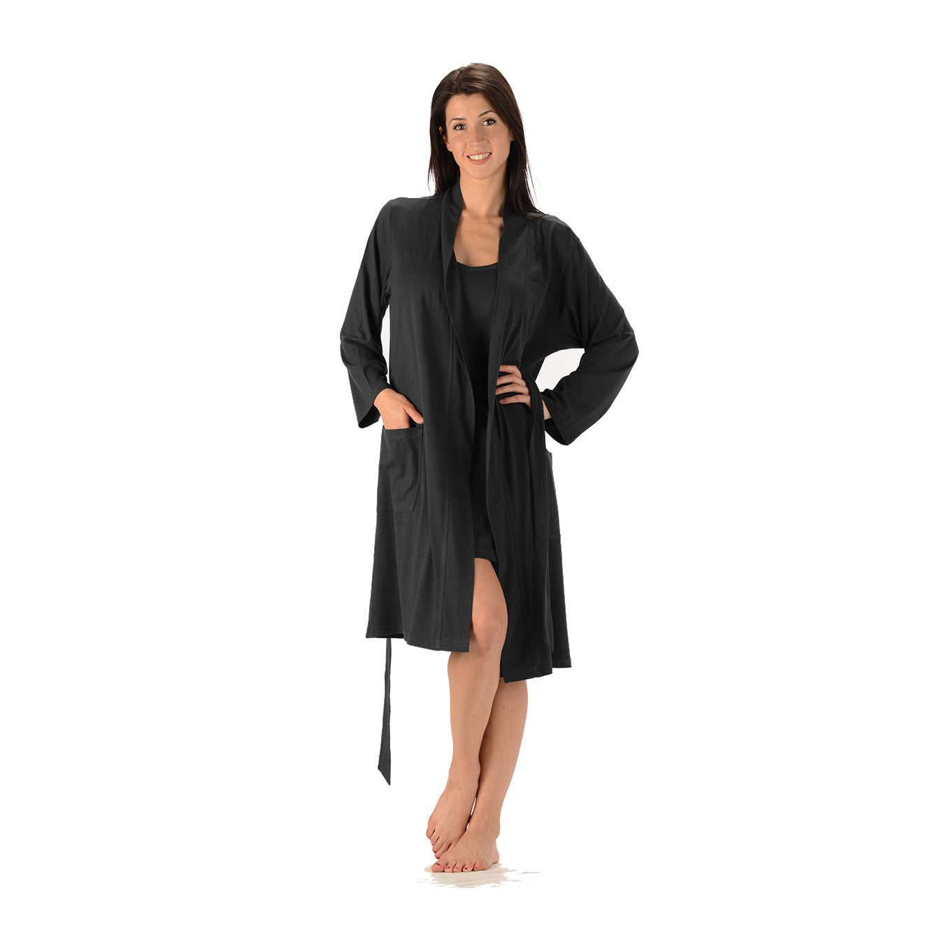 Bamboo and Organic Cotton lightweight bathrobe with two large front pockets and strap tie