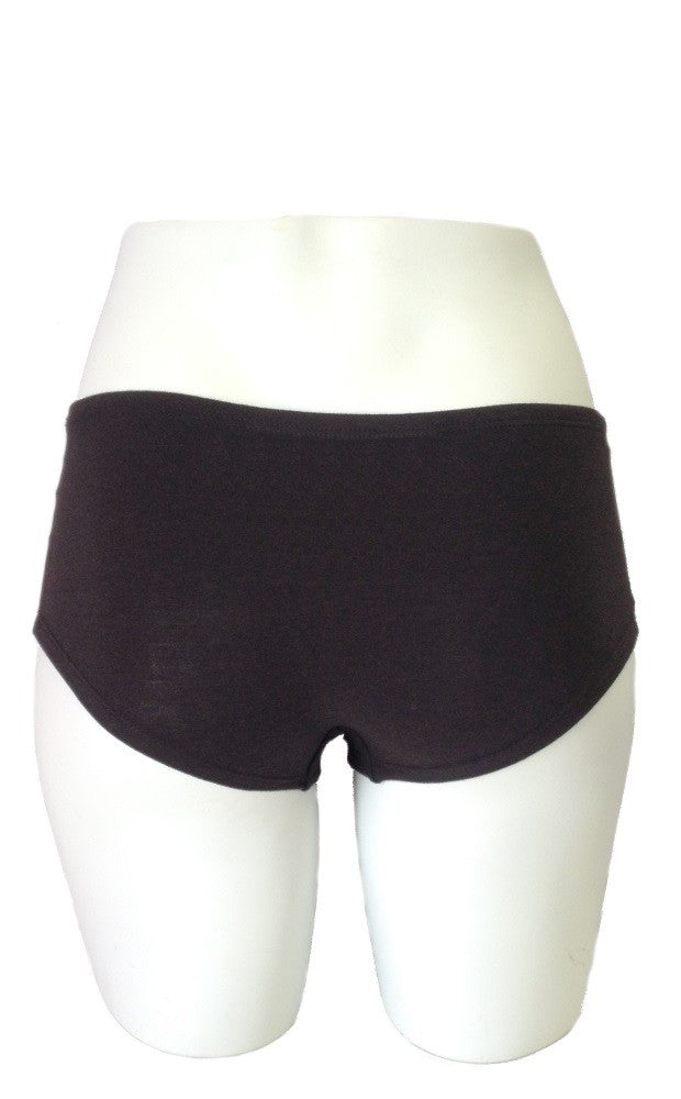 View of the backside to boyshort style undergarment, full bottom coverage