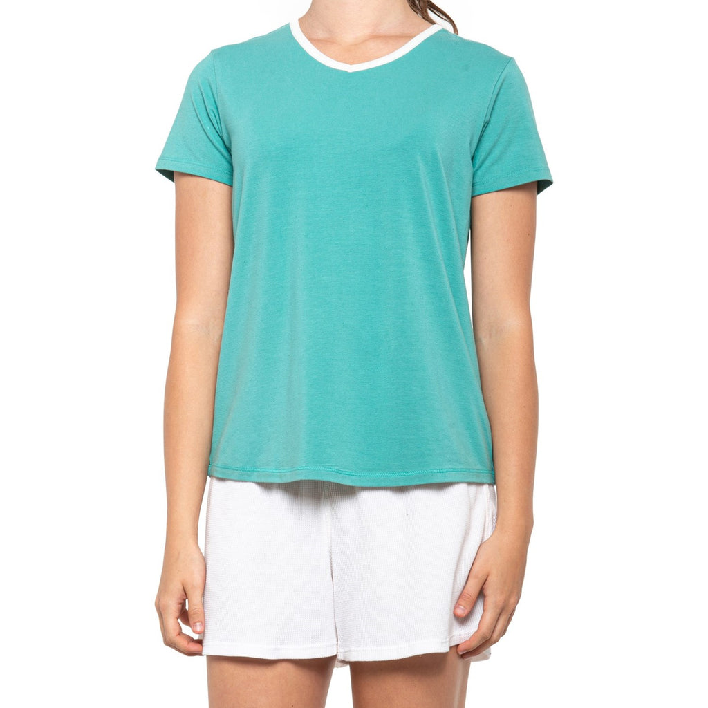 Lightweight pajama tee shirt with a scoop neck lined in white trim while the rest of the shirt is turquoise