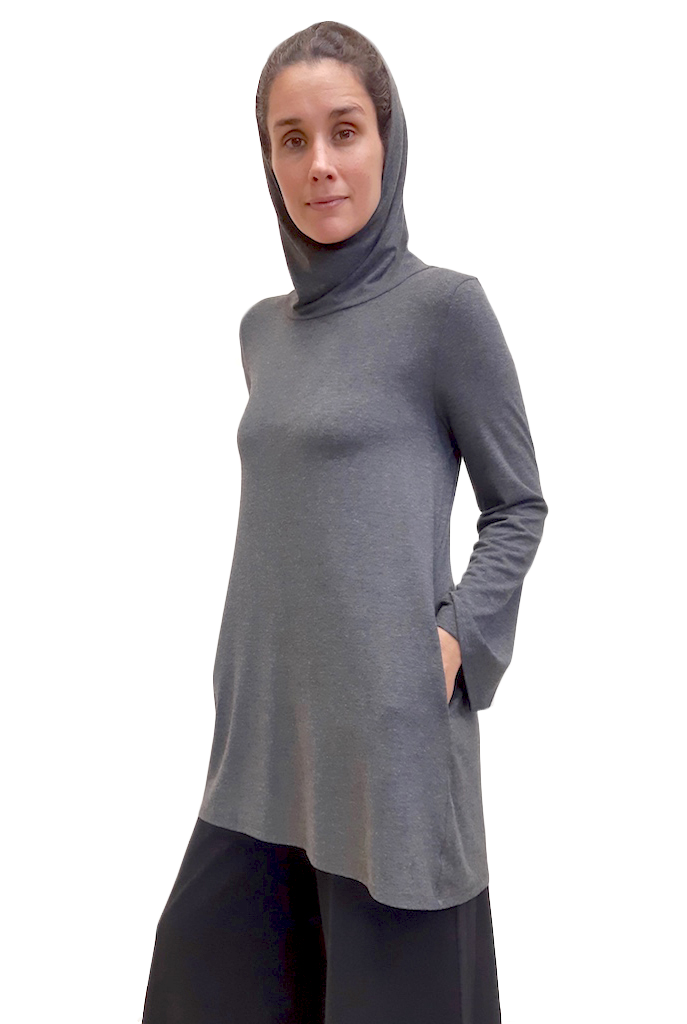 flowy bamboo tunic with a hood and full length loose sleeves in a grey colour