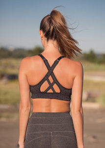 criss cross back view of bamboo and organic cotton grey patterned bra