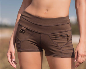 Bamboo and organic cotton brown shorts with wide waistband and front pocket  and seam detailing.