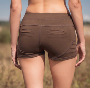 Back view of Bamboo and organic cotton brown shorts with wide waistband and back pockets.