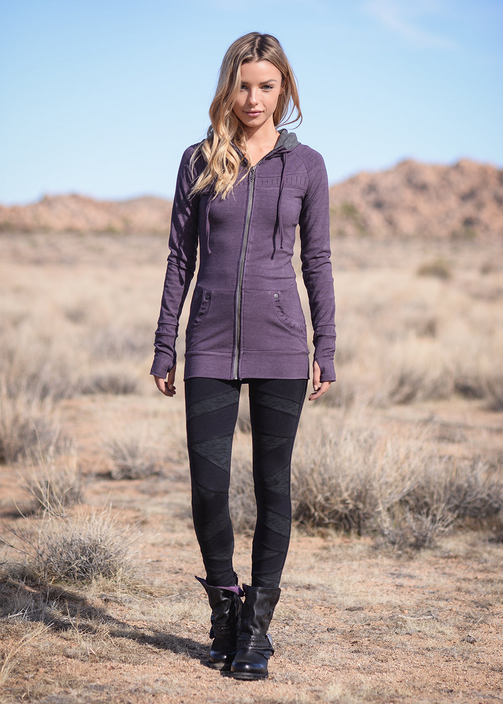 Hemp and organic cotton long fitted purple hoodie with drawstring, full length zipper, and thumb holes