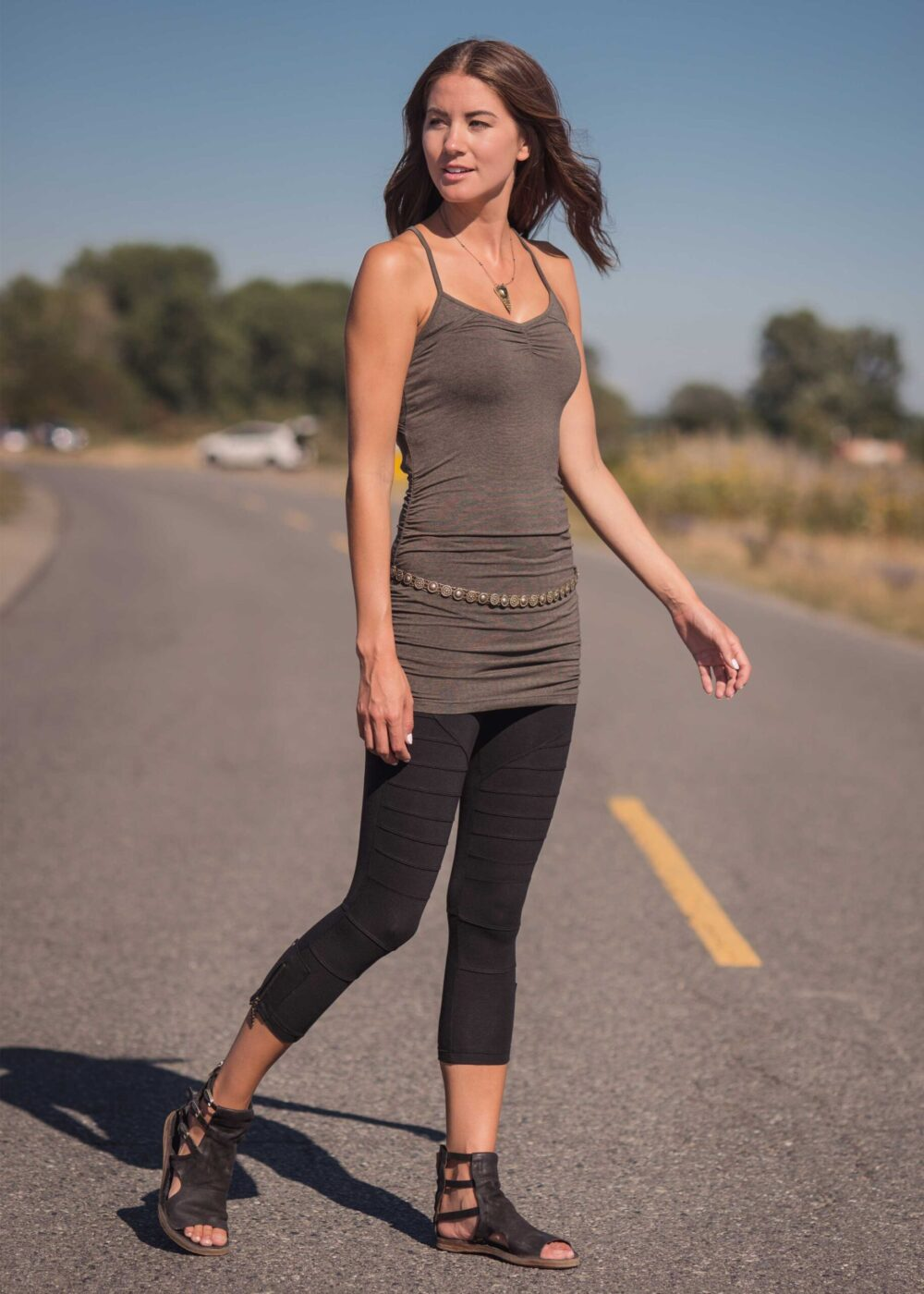 Bamboo and organic cotton long grey tank with racerback and shredded detailing.