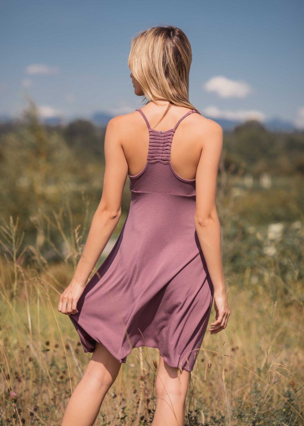 Back view of bamboo and organic cotton pink dress with racerback