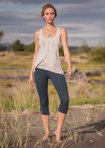 Bamboo and organic cotton light grey scoop neck tank top with Aztec design on the front