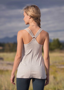 Back view of Bamboo and organic cotton light grey scoop neck tank top with straps that connect in the back racerback style.
