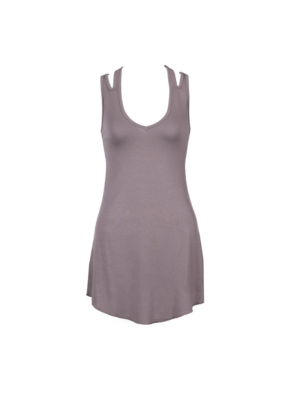 Hemp lyocell long grey v-neck tank with thick straps