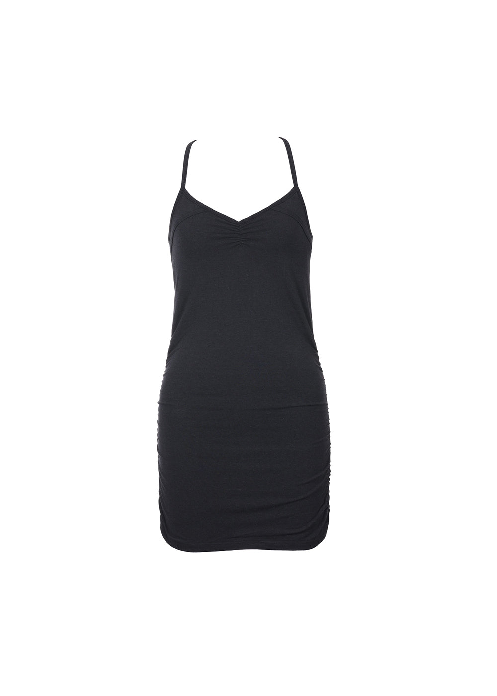 Bamboo and organic cotton long black tank with racerback and shredded detailing.