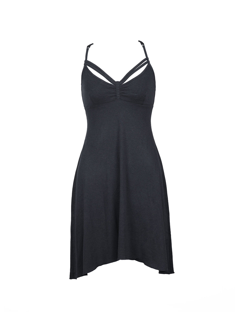 Bamboo and organic cotton black dress with strappy detail