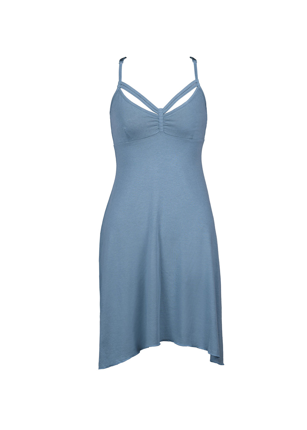 Bamboo and organic cotton blue dress with strappy detail