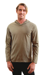 Lightweight long sleeve shirt with hood in a light mossy green