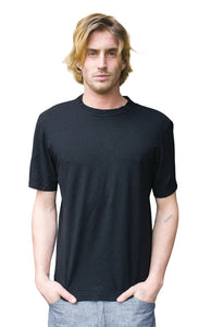 mens hemp short sleeve tee shirt with a round neck line in black