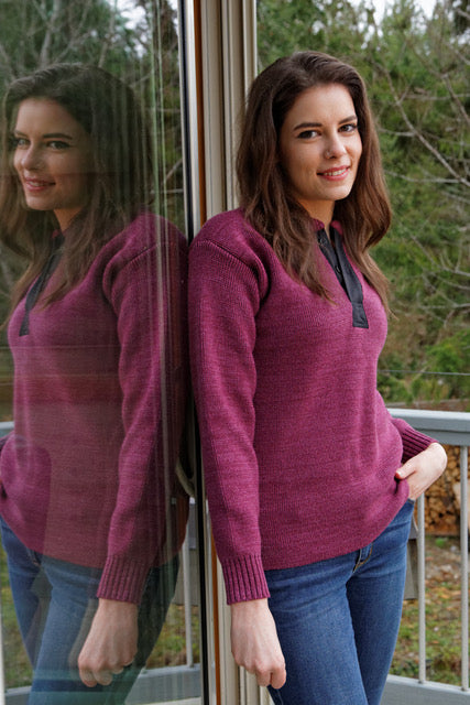 Women's placket knit wool sweater with long sleeves in pink