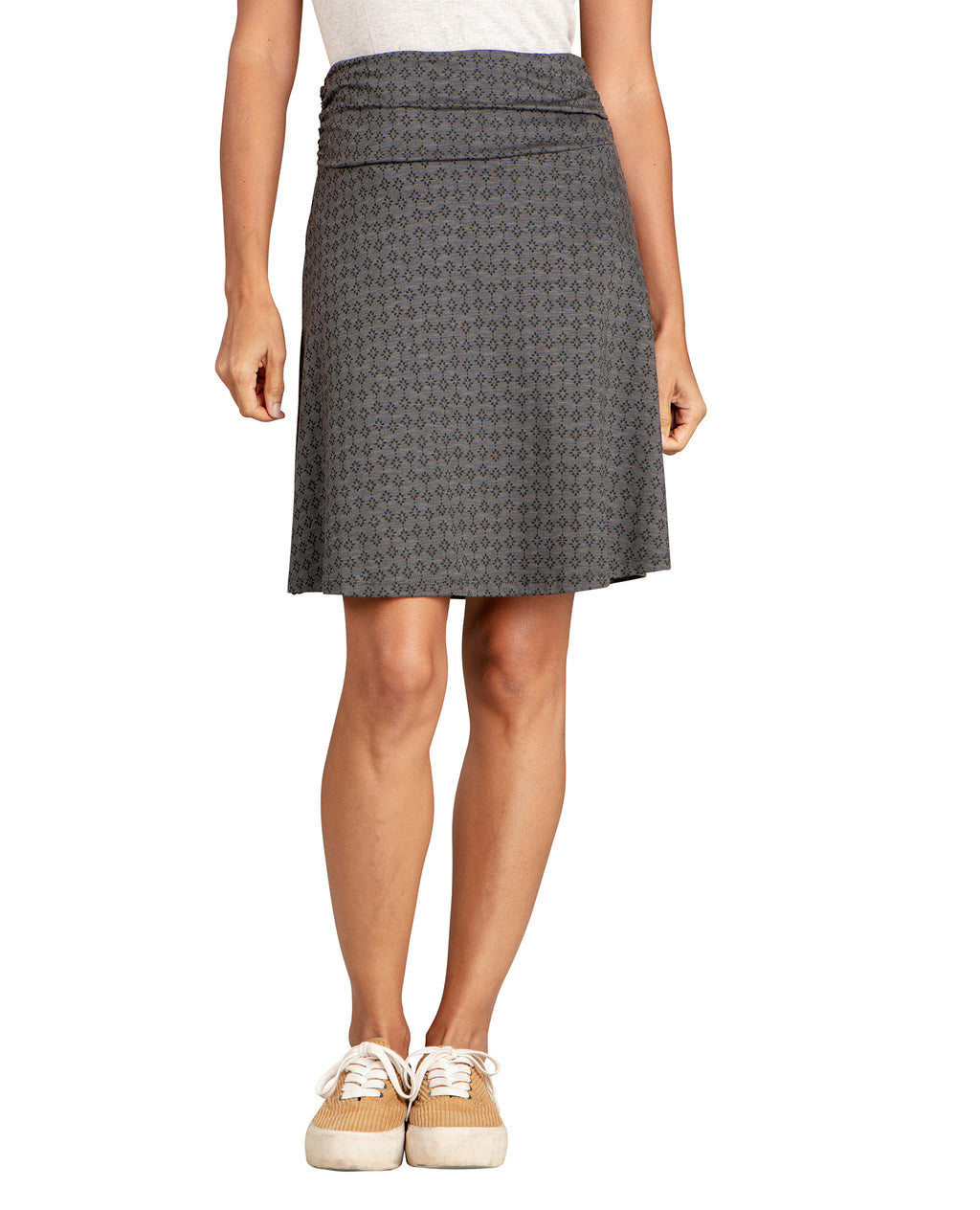 Texture Print Greyish skirt. Semi-flowy bottom. Just above knee length.