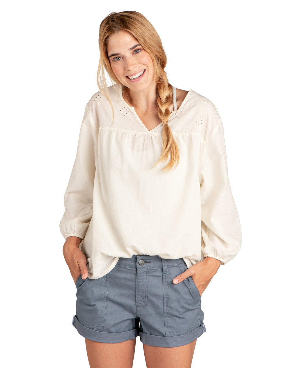 Light Beige V neck 3/4 sleeve shirt with eyelet cut out at the top.
