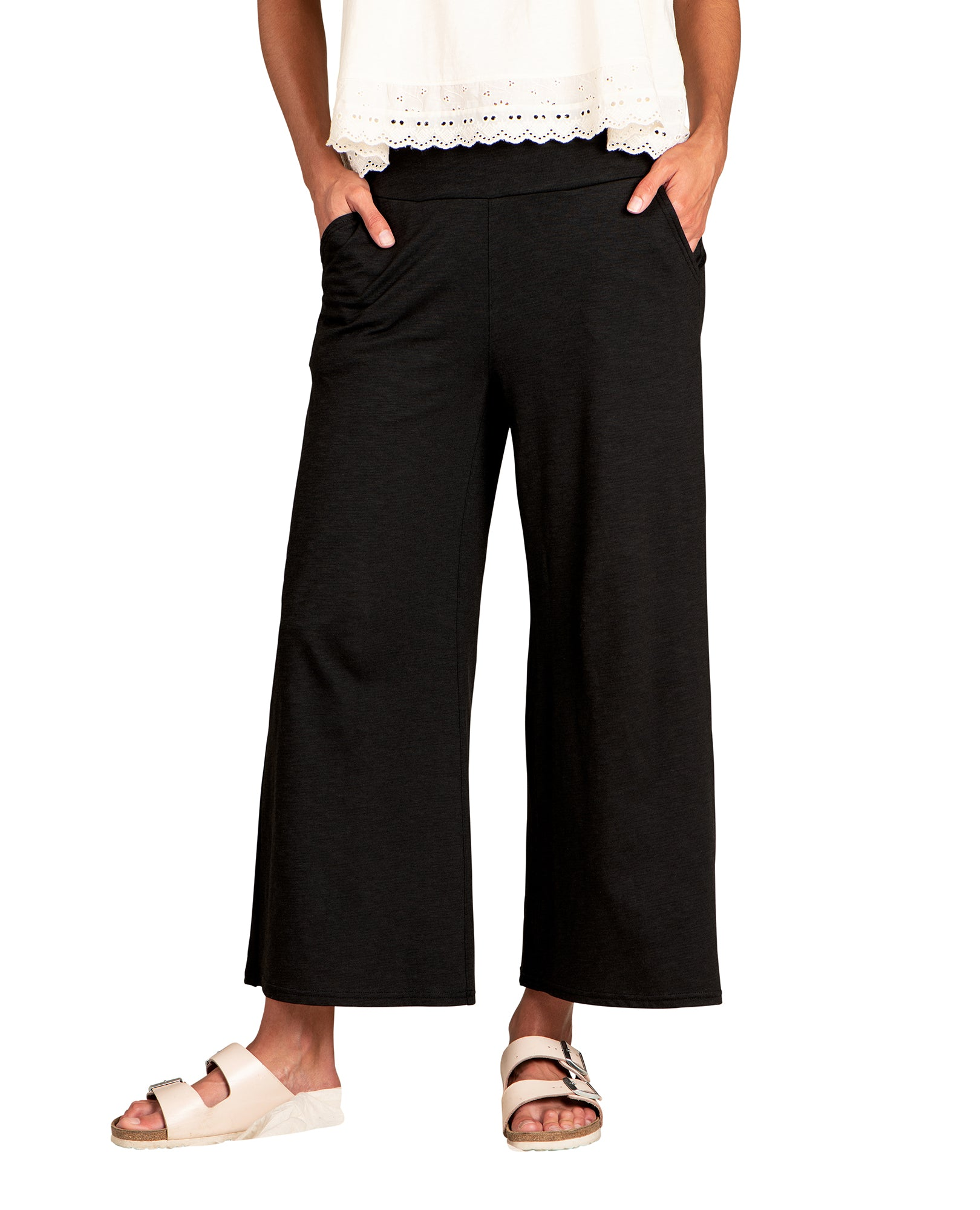Elastic Waistband. Wide Length Pant. Slightly Cropped Fit.