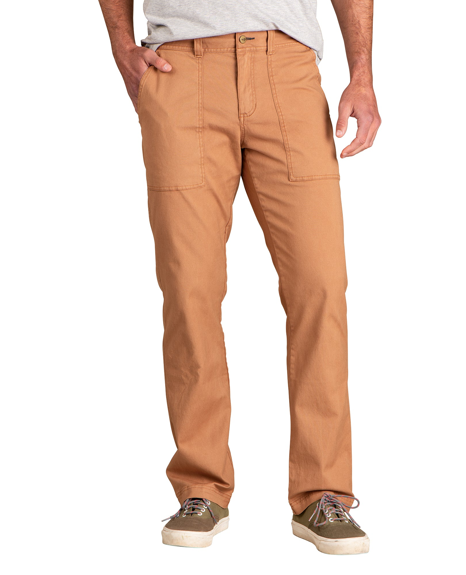 sand brown colour with two long pockets in the front. Regular fit.