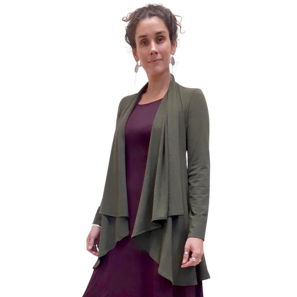Bamboo wrap jacket for lightweight layering that gently flows over the body and sits open in front and falls just over the hips with long sleeves