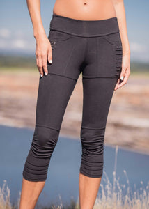 Bamboo and organic cotton 3/4 length black leggings with gathered detailing