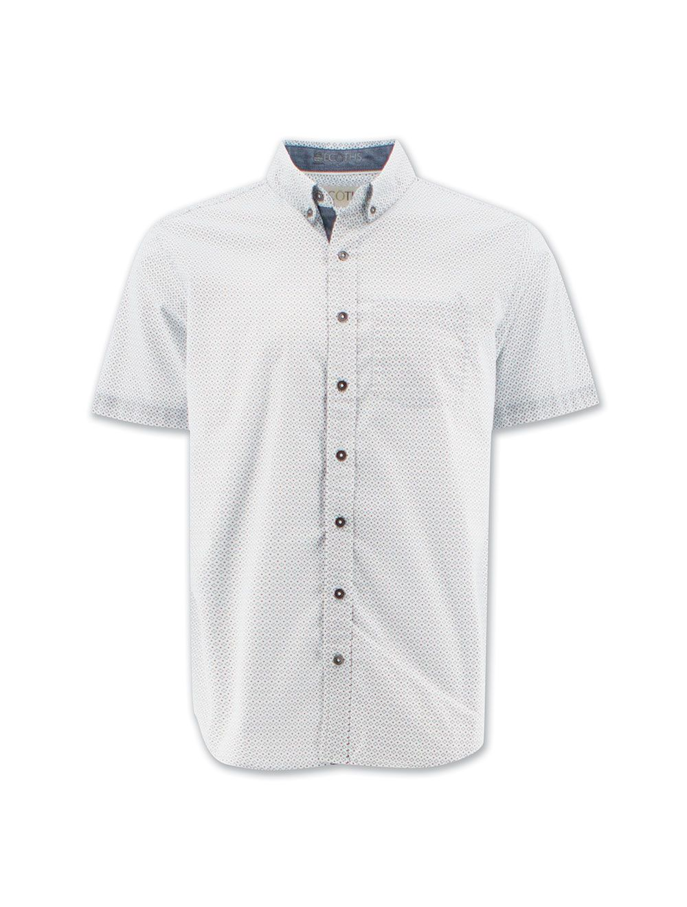 Organic cotton men's button down collared shirt with short sleeves featuring a white and grey polka-dotted pattern