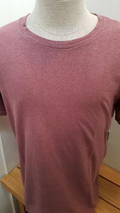 mens hemp short sleeve tee shirt in dusty rose