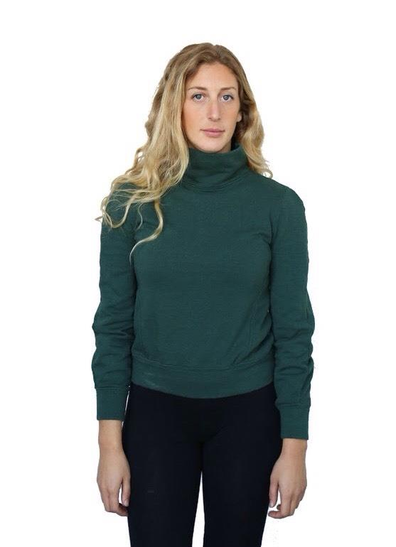 hemp and cotton fleece mock turtle neck long sleeve shirt in forest green
